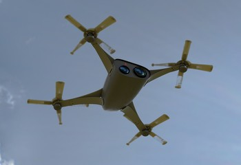 modern camera drone in flight, bottom view of the futuristic black concept cloud sky 3D illustration