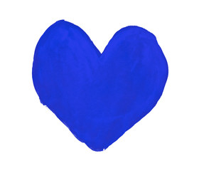 Persian blue heart painted with gouache