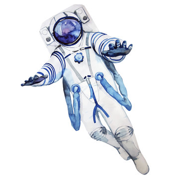 Watercolor astronaut in a spacesuit