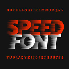 Speed alphabet font. Wind effect type letters and numbers on a dark background. Vector typeface for your design.