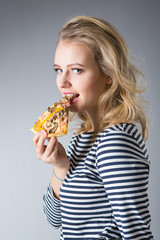 beauty young woman with pizza