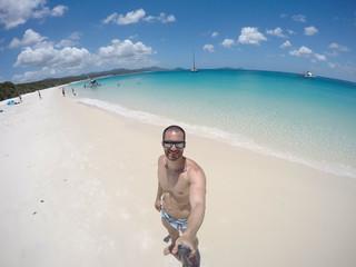 Man taking a selfie in Whitsunday, Australia