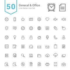 General and Office Icon Set. 50 Line Vector Icons.