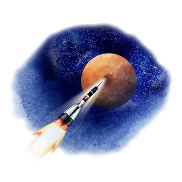 Rocket flying in open space to Mars