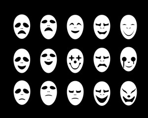 Set of White ghost face mask in flat style, vector