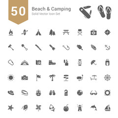 Beach & Camping Icon Set. 50 Solid Vector Icons.