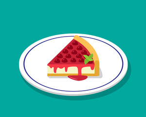 Strawberry cheese cake in 3D cartoon style, vector