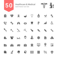 Healthcare and Medical Icon Set. 50 Solid Vector Icons.