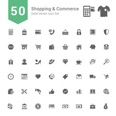 Shopping and Commerce Icon Set. 50 Solid Vector Icons.