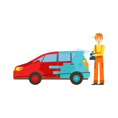 Smiling Mechanic Painting The Car In The Garage, Car Repair Workshop Service Illustration