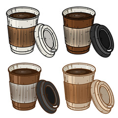 Set of paper coffee cup over white background. Cartoon coffee cup.