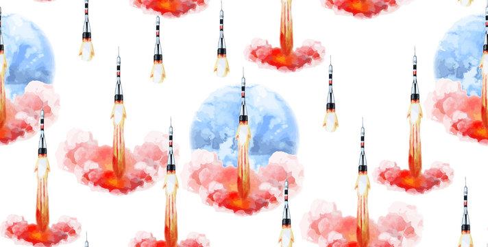 Watercolor rocket pattern