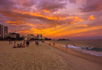 Sunset view of Ipanema beach in Rio de Janeiro, Brazil