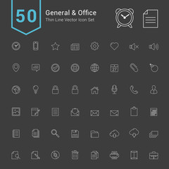General and Office Icon Set. 50 Thin Line Vector Icons.