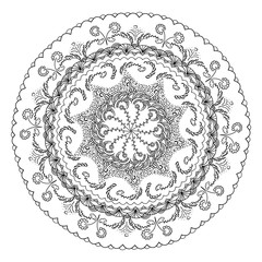 Mandala ornament. Round template. Decorative element  can be used for greeting card, wedding invitation. Doodle emblem.