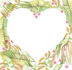 leaves, watercolor, heart, greeting,