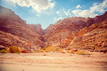 Fotobehang Canyon Scenic view mountain Wadi Rum in Jordan