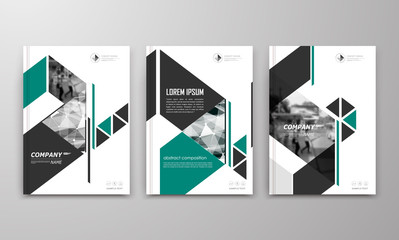 Abstract a4 brochure cover design. Text frame surface. Urban city view font. Title sheet model. Modern vector front page. Brand logo. Ad banner texture. Green triangle, arrow figure icon. Flyer
