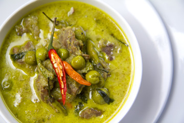 Thai Food: Green Curry from top view