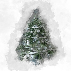 Christmas card with decorated natural tree
