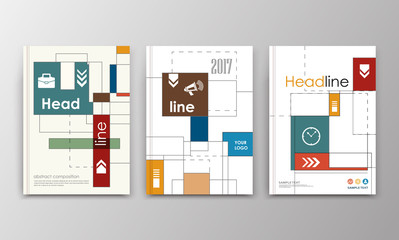 A4 brochure cover design. Triple ad frame font. Patch title sheet model. Creative vector front page. Flyer set. Banner texture. Lines, arrows scheme icon. Financial project fiber. Square text box