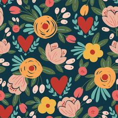 Beauty seamless roses and hearts pattern