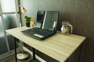 Modern workplace with computer on table