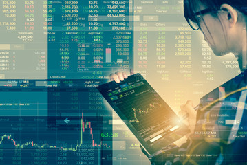 Double exposure of business woman with glasses in hipster shirts holding tablet for check stock market graph with flare light, Business Trading concept