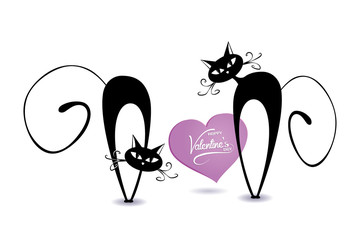 black cartoon cats with heart  - vector romantic valentine's day ( love , valentine  , cat )