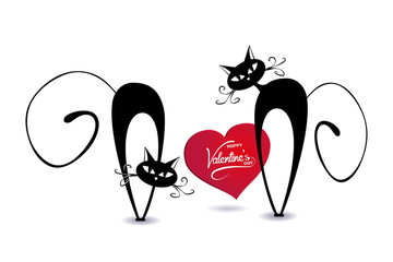 black cartoon cats with heart  - vector romantic valentine's day  ( love ,  valentine , cat  )