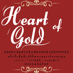 Font script typeface set named Heart of gold  Brush painted characters  lowercase and uppercase  Handwritten script font Typography alphabet for your designs