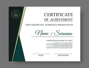 Luxury certificate of achivement with award badge. Vector, eps10