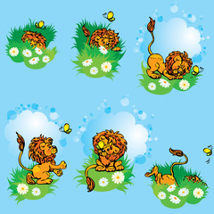 Set hand drawn images with funny lion play with butterfly on blu