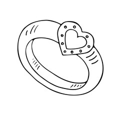 Wedding ring icon with heart. Outlined on white background