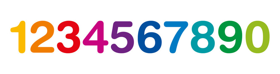 Rainbow colored numbers in a row. The ten numbers from one to zero. Isolated illustration on white background. Vector.