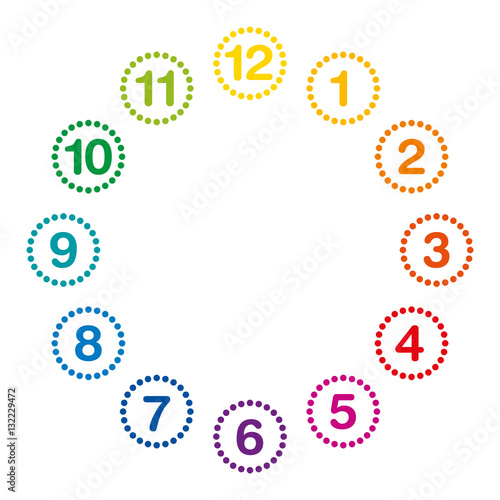 Rainbow colored clock face with numerals and hours one to twelve