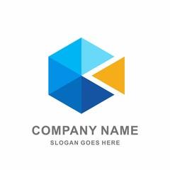 Geometric Hexagon Triangle Arrow Cube Space Architecture Interior Business Company Stock Vector Logo Design Template
