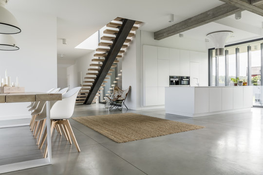 Open floor apartment with staircase