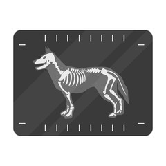 Dog x-ray icon in monochrome style isolated on white background. Veterinary clinic symbol stock vector illustration.