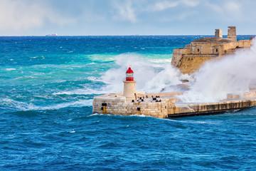 Malta Valetta Stom Old Lighthouse - Forti Rikażoli & British Control Towers - Mediterranean Sea