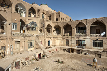 Iran, Kashan: Backyard with several levels, stairway, and sunken courtyard behind the old bazaar in the city center.