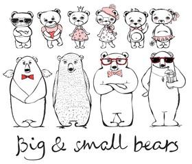 Hand drawn hipster big and small bears set