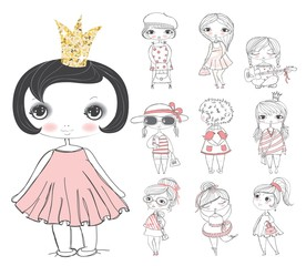 Set of 10 cute stylish girls.
