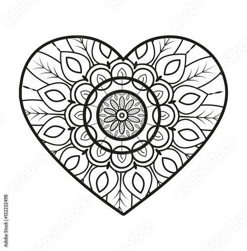 Vector Illustration Of A Mandala Heart For Coloring Book Cuore