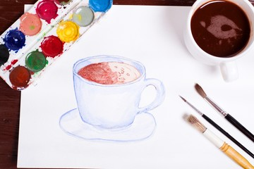 watercolor painting coffee cup