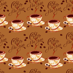 Seamless pattern with coffee cups, beans, calligraphic hand writ