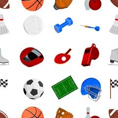Sport and fitness pattern icons in cartoon style. Big collection sport and fitness vector symbol stock illustration