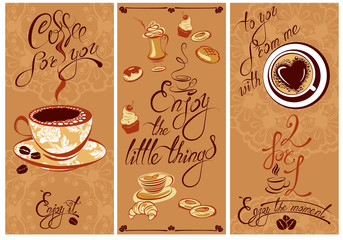 Set of Template Flayer or Menu design for coffeehouse. Backgroun