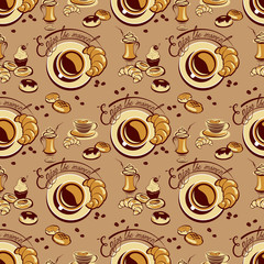 Seamless pattern with coffee cups, beans, cakes, sweets, croissa