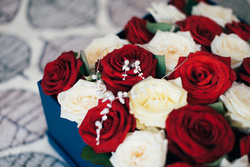 red, white roses and decoration